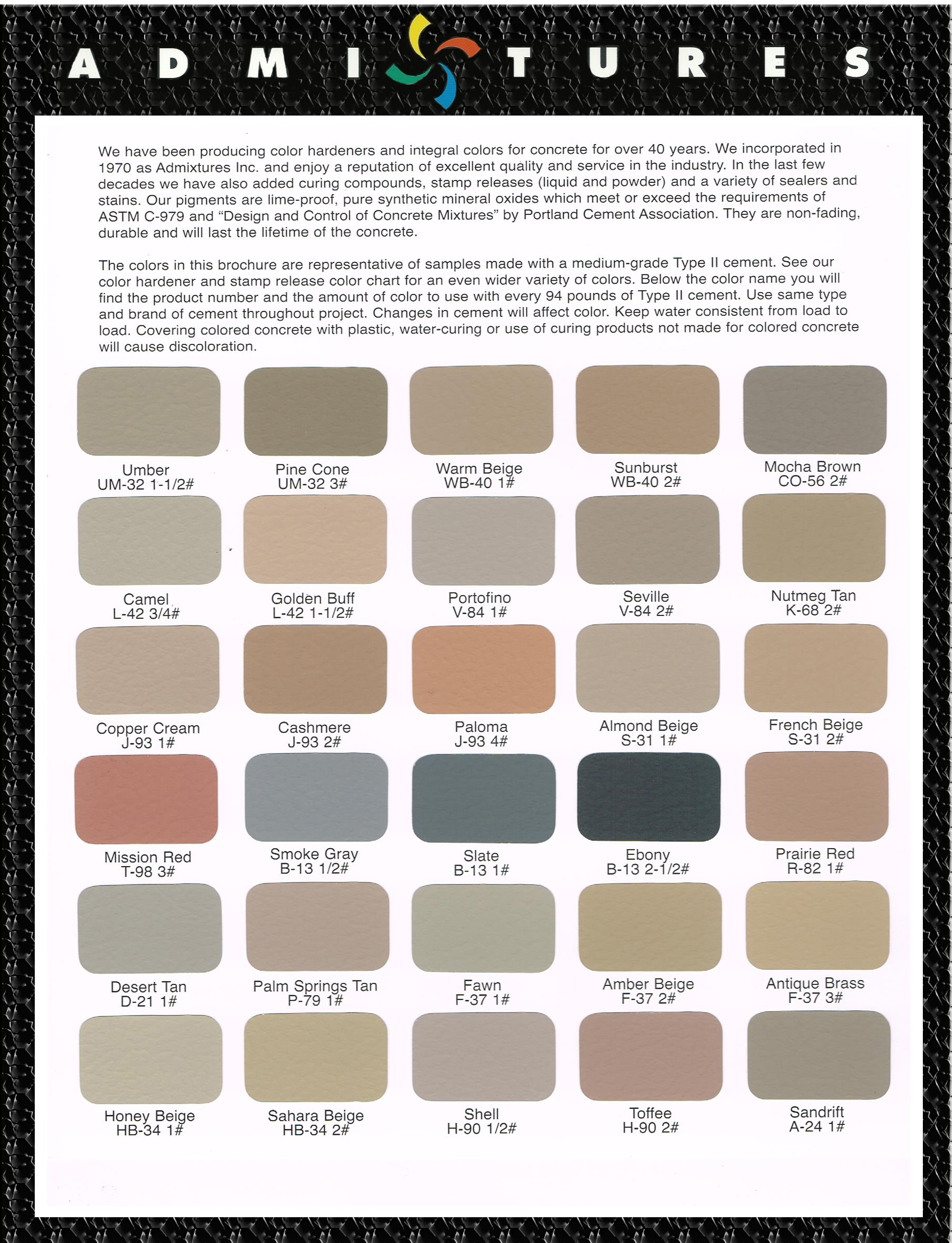Admixtures inc color chart integral color chart nvjuhfo Gallery
