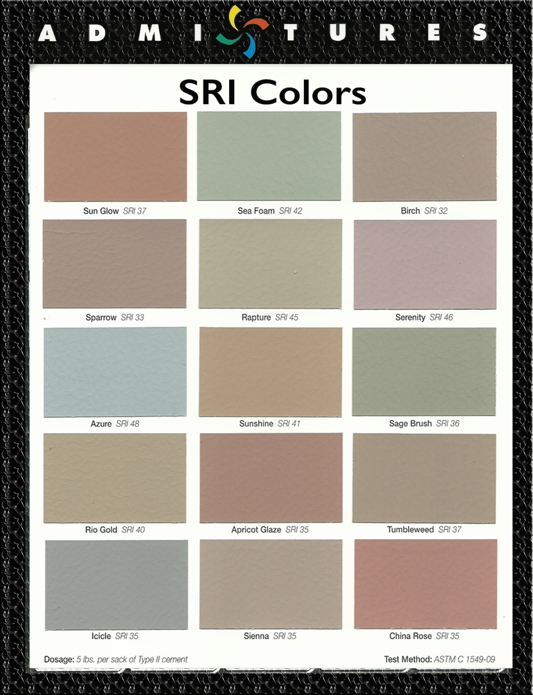 Admixtures inc sri colors the colors represented on this color chart are typically used for projects requiring leed credits the parameters being set by the us green building nvjuhfo Images