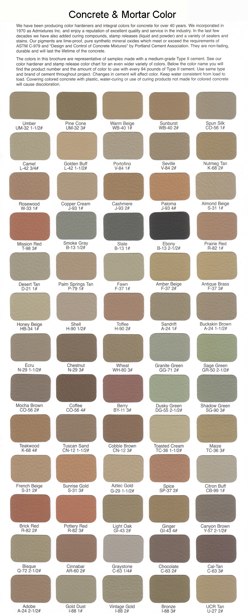 Admixtures inc color charts nvjuhfo Gallery